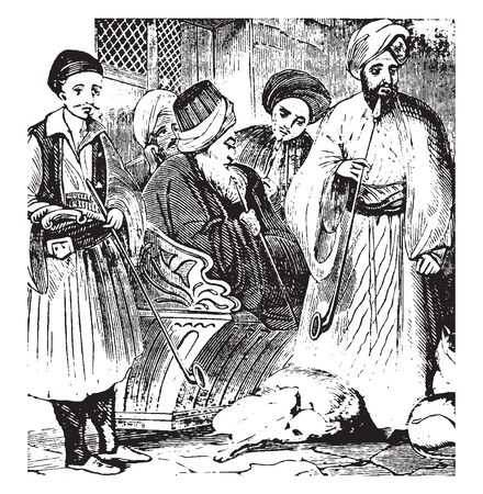 Turks are a Turkic ethnic group and nation living mainly in Turkey and speaking Turkish, vintage line drawing or engraving illustration. 일러스트