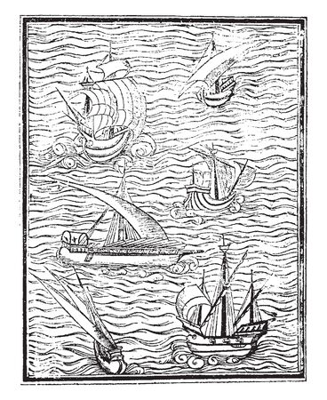Spanish Vessels is a fac simile of a cut in Medina Arte de navegar, vintage line drawing or engraving illustration.