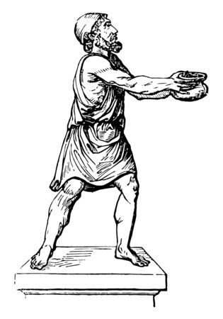 A Greek holding a Pileus, vintage line drawing or engraving illustration.