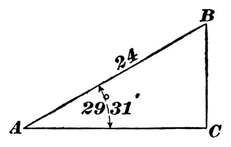 The image shows the right triangle ACB together with its sides and triangle. Using any two sides we can calculate the third lateral length according to the Pythagorean Theorem, vintage line drawing or engraving illustration.