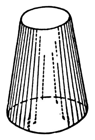 The image shows prismatoid with 2 circular bases in the form of an inverted glass. Its side faces can be trapezoids or triangles, vintage line drawing or engraving illustration.