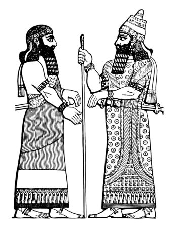 This image includes two towns. There is an Assyrian king and his chief minister. There is a stick in the hand of the king, vintage line drawing or engraving illustration.
