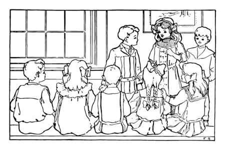 A picture showing the group of children. All of them are dressed beautifully. The girl is seem to be addressing the rest of the group and couple of boys are standing next to her, vintage line drawing or engraving illustration.