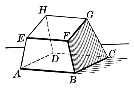 A hexahedron - polyhedron diagram with 6 faces, vintage line drawing or engraving illustration. Ilustração