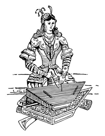 Tsymbaly is a dulcimer or chordophone used in the Ukraine and the Middle East, vintage line drawing or engraving illustration.
