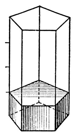 The images show that part of the volume of a pentagonal prism, vintage line drawing or engraving illustration. Ilustrace
