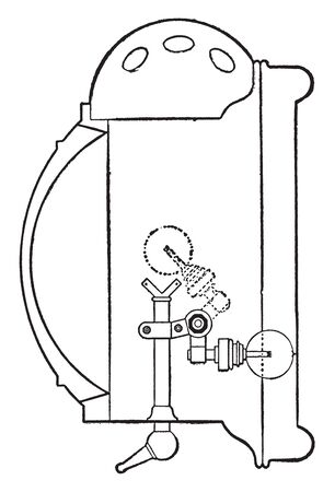 Reflector which is early type of automobile reflector, vintage line drawing or engraving illustration.  イラスト・ベクター素材