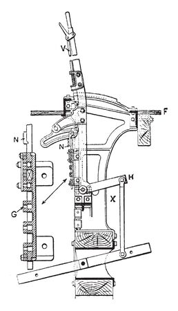 Signal Lever for their operation to interlock the signals and points to allow the safe operation of trains in the area the signals control, vintage line drawing or engraving illustration.