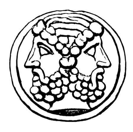A coin design in which the backs of the heads of the two emperors meet, vintage line drawing or engraving illustration.