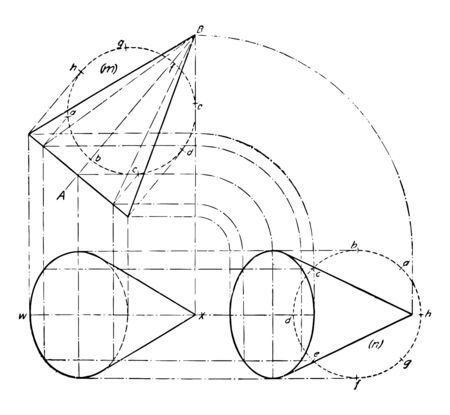 The image shows the projection of Cone. Shows the screen of a cone. It is an estimate of a future situation based on a study of current cone images, vintage line drawing or engraving illustration.