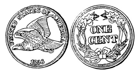 A picture is showing Copper-Nickel Cent Coin, 1856. Obverse shows the flying eagle, with inscribed - UNITED STATES OF AMERICA, 1856. Reverse show the value in middle of coin, vintage line drawing or engraving illustration. Ilustrace
