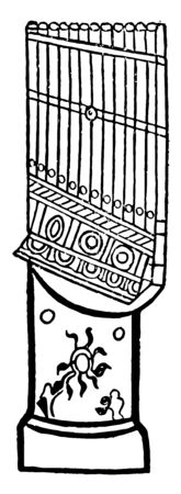 Water Organ is a type of automatic pipe organ blown by air, vintage line drawing or engraving illustration. Çizim