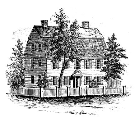 Webb house Connecticut designated a national historic landmark, in wethersfeild Connecticut vintage line drawing.