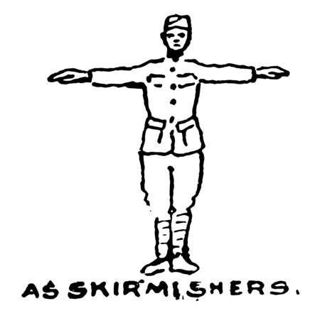 As Skirmishers spread out as skirmishers on the battlefield, vintage line drawing or engraving illustration.
