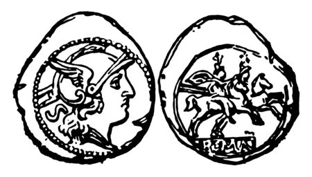 A coin shows both sides in an image. One side has a bust of an emperor and the other has an image of soldiers who are sitting on horseback, vintage line drawing or engraving illustration.