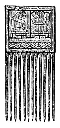 The image shows wooden comb. It is a wooden box with square base and front part divided into small sticks that are used as a comb, vintage line drawing or engraving illustration. Illusztráció