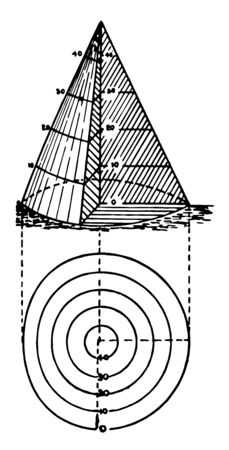The concave hinge is near the top in the center of the cone and the bottom of the long distance, vintage line drawing or engraving illustration. Vettoriali