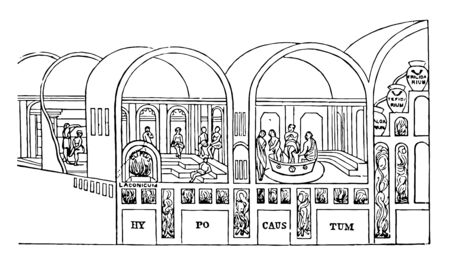 Bathroom structures used for bathing by public, vintage line drawing or engraving illustration. 일러스트