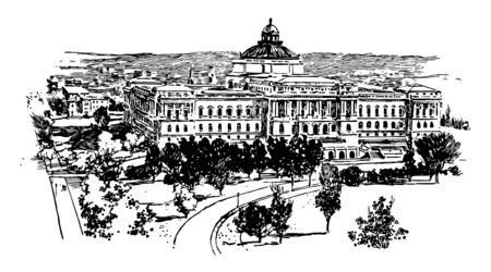 Library of Congress is research library and is nation's oldest federal cultural institution vintage line drawing. Illustration