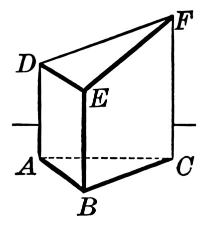 The image shows a truncated right triangular prism that is equal to the product of its base in a third of the sum of its lateral edges, vintage line drawing or engraving illustration.