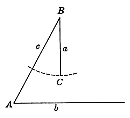 The image shows the ambiguous case of the law of the Sines triangle. The angle ABC is found by the minimums of the alternating sinuses to the angle A, vintage line drawing or engraving illustration.