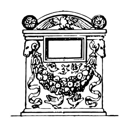 This image shows the cinerary urn in the British Museum. This is decorated with the design of the birds, vintage line drawing or engraving illustration.