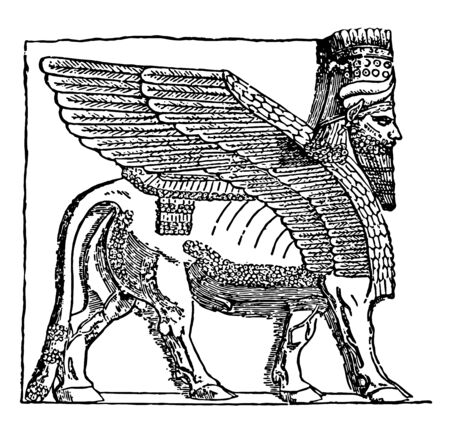 This image includes the figure that is present at the entrance to Korsabad. A winged bull is shown in the figure, vintage line drawing or engraving illustration.