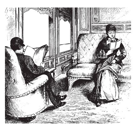 Train Compartment where a man and a woman reading in a train compartment, vintage line drawing or engraving illustration. Banco de Imagens - 133428487