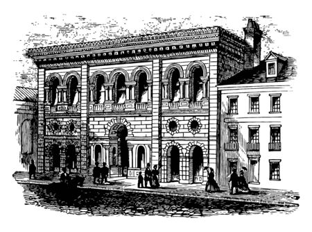 Image showing The South Carolina Institute in 1860 with one entry and multiple windows vintage line drawing. Ilustrace