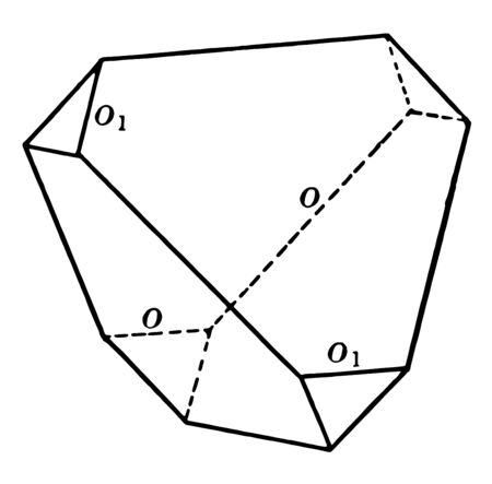 A diagram of Tristetrahedron. The faces of the sadtraedro correspond to half of the faces of a trapezohedron, vintage line drawing or engraving illustration. 向量圖像
