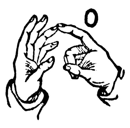 This image shows the two-hand sign for O, vintage line drawing or engraving illustration. Ilustração