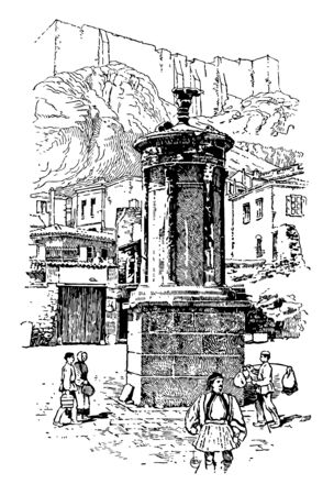 A music monument in Athens, vintage line drawing or engraving illustration.