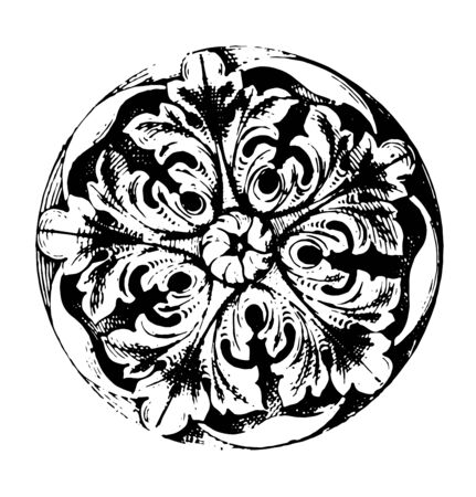 This is an image of Cinquefoil. Ornaments of five leaves, five parallel leaves have been designed in a circle, vintage line drawing or engraving illustration. 向量圖像