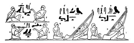 Egyptian Music shows harps pipe and flute from an ancient tomb near the Pyramids, vintage line drawing or engraving illustration.