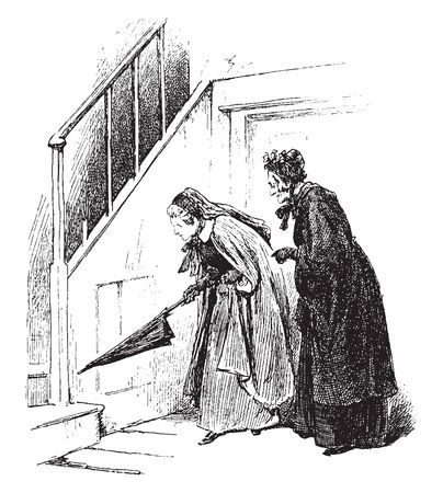 Two women observing something in the corner, vintage line drawing or engraving illustration