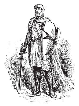 Knight Templar with shield and sword, vintage line drawing or engraving illustration