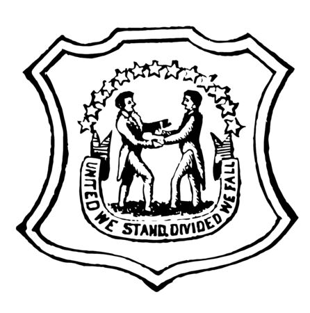 State seal of Kentucky is in two colors, blue and gold with motto United we stand divided we fall vintage line drawing.