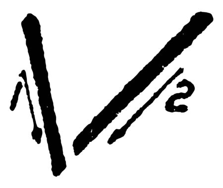 This is an image of how to write the capitalized letter V using sloppy strokes, vintage line drawing or engraving illustration. Ilustração