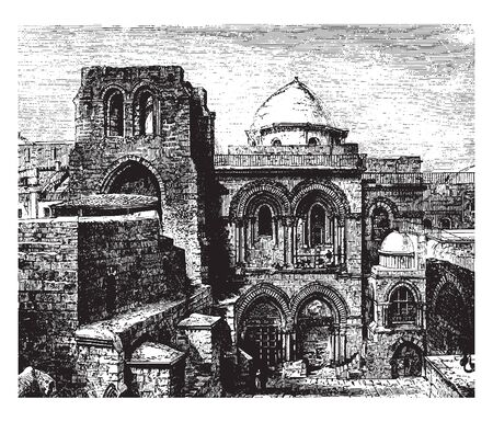 Holy Sepulchre is a church in the Christian Quarter of the Old City of Jerusalem, vintage line drawing or engraving illustration. Illusztráció