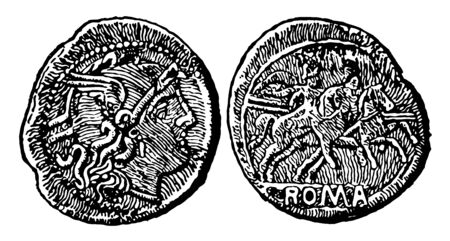 A coin represents both sides in an image. Where on one side is bust of an emperor and another side has an image of soldiers who are sitting on horseback, vintage line drawing or engraving illustration.