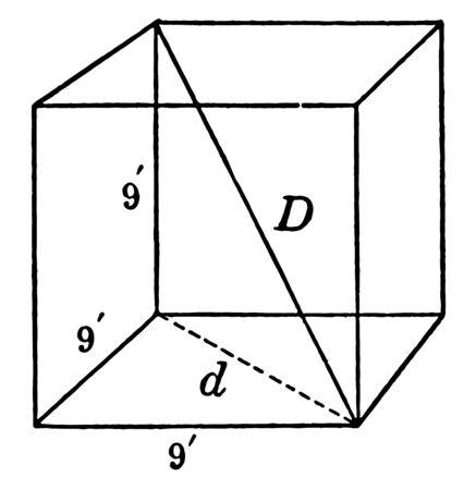 La imagen muestra el cubo de 9 por 9 por 9 con diagonales junto con lados que tienen cada lado de una longitud de 9 'y cada lado con su diagonal, dibujo de línea vintage o ilustración de grabado. Ilustración de vector