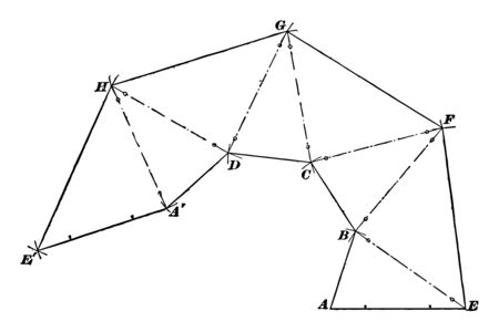 Illustration of an irregular solid shape formed by triangular surfaces deployed on a flat surface. A is the center and the radius is equal to AB, vintage line drawing or engraving illustration.