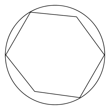 A diagram of a hexagon in a circle. Four of the six vertices of the hexagon are joined by the circle, vintage line drawing or engraving illustration.