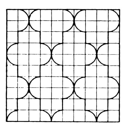 The image shows a beautiful tiling design along with a repetitive design pattern, vintage line drawing or engraving illustration.