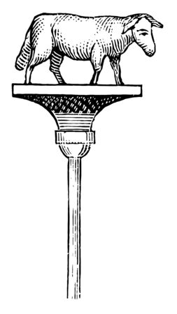 This is the statue of the Signifer. There is a higher pillar in this image. On the surface of the pillar there is an animal, vintage line drawing or engraving illustration.