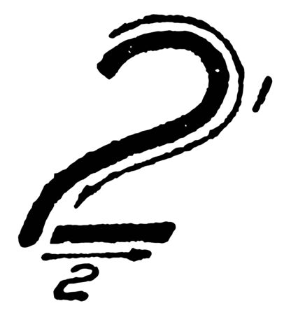 This is an image of how to write the inclined capital number 2 using correct strokes, vintage line drawing or engraving illustration. Ilustração