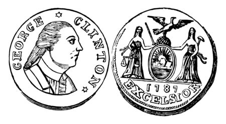 A picture is showing Copper Cent Coin, 1787. This is the New York coin, its value is 1 cent. On this coin show right facing image of a man. Reverse side shows 2 ladies with shield, and an eagle, vintage line drawing or engraving illustration.