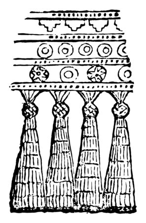 The sample of the ancient Assyrian fringe. Fringe: an ornamental edge of the length of the thread, vintage line drawing or engraving illustration.