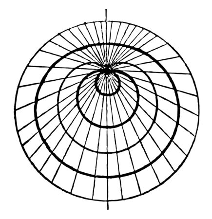 This attractive image shows Pascals volute lines that bend gently, vintage line drawing or engraving illustration.