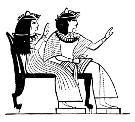 Egyptian Double Chair was a seat for two usually for guests, vintage line drawing or engraving illustration.